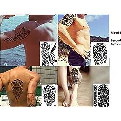 TRIBAL TATTOO SCHWARZ 4 Bögen Temporär Arm Oberarm Tattoo Aufkleber Maori 4
