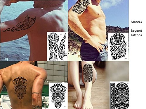 Tribal tattoo nero 4fogli temporaneamente arm braccio adesivi tatuaggio maori 4