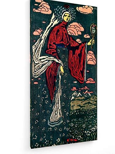 Wassily Kandinsky - Der Spiegel - Linolschnitt 1907-30x60 cm - Leinwandbild auf Keilrahmen - Wand-Bild - Kunst, Gemälde, Foto, Bild auf Leinwand - Alte Meister/Museum (Kostüm Der Russischen Folklore)