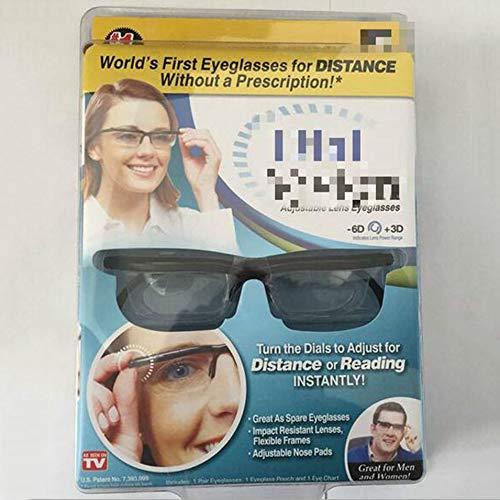 HermosaUKnight Focus Occhiali da Lettura Regolabili Occhiali miopia -6D a + 3D diottrie Ingrandimento Intensità variabile Focus Vision-Nero e Trasparente