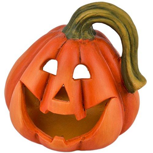 Dadeldo Kürbis für Teelicht Deko Objekt Herbst Halloween Keramik orange (17x16x16cm)
