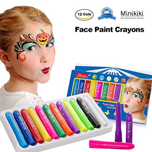 Minikiki Face Paint Buntstifte, Face Painting Kits, 12 Cols, Körperbemalung, Kinder Face Painting, Waschbar Face Paint, Kinder Make-up, Non Toxic Body Painting, Ideal für Halloween, Weihnachten, Geburtstagsfeiern