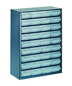 raaco 137461 936-01 Casier avec 36 tiroirs, Bleu/transparent