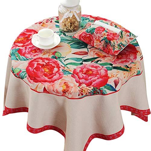 Xinwcanga tessuti per tovaglie eleganti fiori stampa tovaglia rotonde moderne per cena & festa per albergo, ristorante, matrimoni (rosso*110)