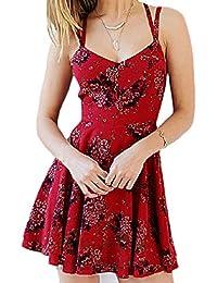 Lannister Fashion Donna Vestiti da Cerimonia Eleganti Estivi Corti Vestito  Fiore Stampato Linea Ad A A Pieghe 046eebe2ea60