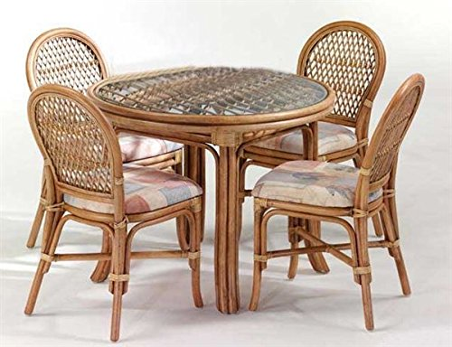 Cane World Dining Set (4 Chair , 1 Center Table)