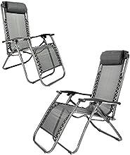 ANAELLE Pandamoto 2x tumbonas ajustable baño de sol de jardín reclinables en terraza, jardín, campings, empresarial, casa etc, tamaño: 162* 62* 112cm, peso: 14kg (2x sillas larga), Negro