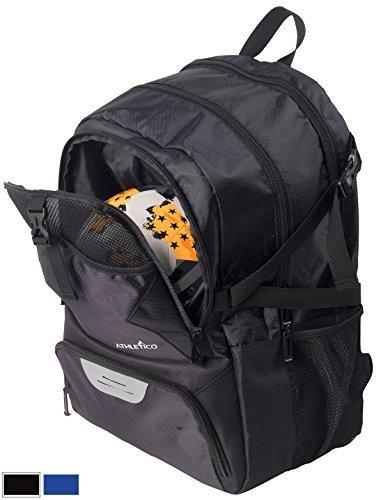 Athletico Fußball -, Rucksack, Tasche & für Fußball, Basketball, Fußball, mit extra Cleat-Ball Fächer, Schwarz