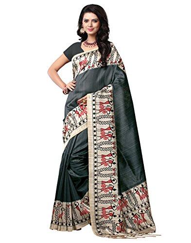 e-VASTRAM Women\'s Mysore Art Silk Printed Saree With Tassel/Kutch (NSTASSELGREY_Grey)