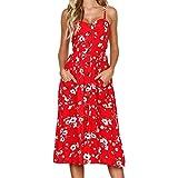 VEMOW Elegante Damen Sommerkleider Floral Bohemian Spaghetti Strap Tasten Unten Solid Off Schulter Sleeveless Princess Swing Midi Kleid mit Taschen(Rot, EU-50/CN-XL)