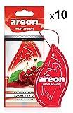 AREON Mon Ambientador Coche Cherry Cereza Rojo Olor Fruit Casa Colgante Colgar Perfume Original Cartón Retrovisor Oficina 2D (Pack de 10)