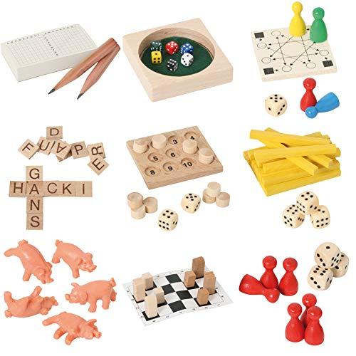 Bartl 500278 9 Mini-Spiele aus Holz für Erwachsene und Kinder -