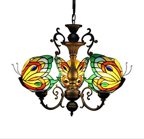 Drei Licht-insel Kronleuchter (3 Lichter Küche Insel Kronleuchter Schmetterling dekorative Tiffany Stil Glasmalerei Schatten, Vintage hängende Pendelleuchten Mission Deckenleuchten für Esszimmer Wohnzimmer Schlafzimmer)