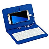 Wired tastiera caso, Hansee Wired tastiera Flip Custodia a fondina per cellulare Android 10,7- 17,3cm, Similpelle, Blue, 225*140*30mm