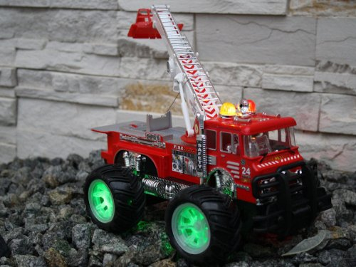 RC Auto kaufen Feuerwehr Bild 3: Unbekannt RC Feuerwehrauto Fire Fighter Einsatzlicht Sirene Feuerwehr ferngesteuertes Auto mit echtem Einsatzlicht und Sirene - Hammerbeleuchtung*