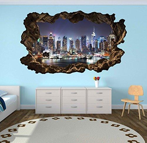 Preisvergleich Produktbild 3D Wandtattoo New York Skyline Stadt Wandbild Wandsticker selbstklebend Wandmotiv Wohnzimmer Wand Aufkleber 11E610, Wandbild Größe E:ca. 168cmx98cm