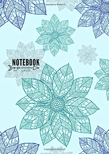 Lined Notebook A4: Large Decorative Journal Notebook with Blank Date on Top | Mandala Light Blue Design por Erin Cora