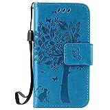ISAKEN Hülle für iPhone 4 4S, PU Leder Flip Cover Brieftasche Ledertasche Handyhülle Tasche Case Schutzhülle mit Handschlaufe Strap für Apple iPhone 4 4S - Baum Katze Blau