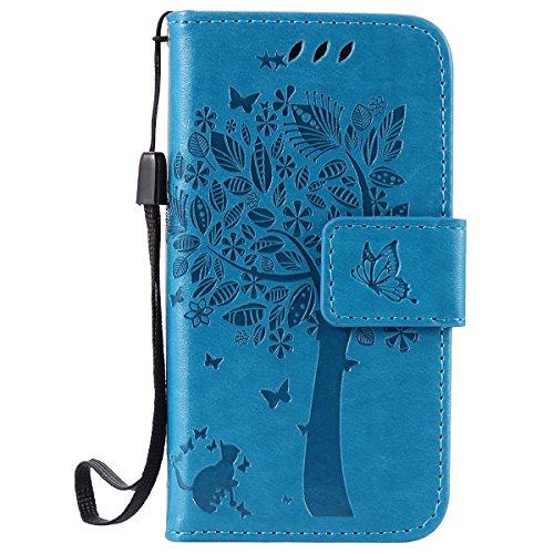 ISAKEN iPhone 4 4S Hülle, PU Leder Flip Cover Brieftasche Geldbörse Wallet Case Ledertasche Handyhülle Tasche Schutzhülle mit Handschlaufe Strap für iPhone 4 4S - Baum Katze Blau