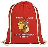 ShirtStreet natur Turnbeutel Rucksack Gymsac Eichhörnchen - Bitte nicht schubsen, Größe: onesize,rot natur