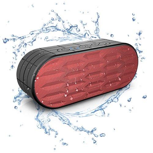 ITgut 10W musikbox IPX5 Bluetooth 4.0 Lautsprecher 2200mAh Akku musik Box Bluetooth Lautsprecher Dual-Treiber Wireless Speaker reinem Bass und eingebautem Mikrofon für iPhone 7 6 6s, iPad, Samsung, HTC und andere Android Geräte Wasserdicht Lautsprecher(Rot)