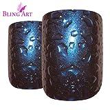 Falsche Nägel Bling Art Blau Lila Wasser Französisch Squoval 24 Gefälschte Mittel Tipps
