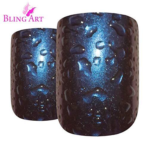 Falsche Nägel Bling Art Blau Lila Wasser Französisch -