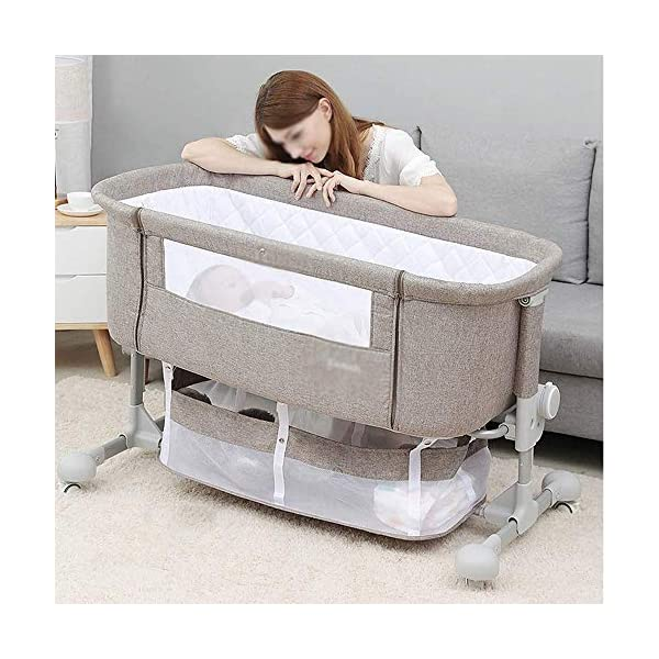 LYYJIAJU Baby Crib Portable Bassinet Bed Infant Kids Travel Playpen Multifunction Height Adjustable Pack Deluxe Beds Pocket Changer Cribs Bag & Caster LYYJIAJU Material: Aluminum alloy tube + cotton and linen (sturdy, environmentally friendly, no odor, no formaldehyde, no toxicity); applicable age: newborn - 2 years old Features: with mosquito net; large-capacity storage bag; foldable, free installation, easy to carry; universal wheel, with brake, silent; breathable mesh bed; seamless splicing bed size (length x width x height): 110X56X78CM; inner diameter: 100x50cm; height adjustable: 6 files (32-67cm) 2