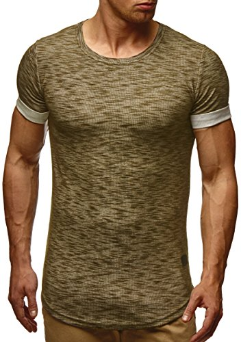 LEIF NELSON Herren T-Shirt Sweatshirt Hoodie Hoody LN6356 Khaki