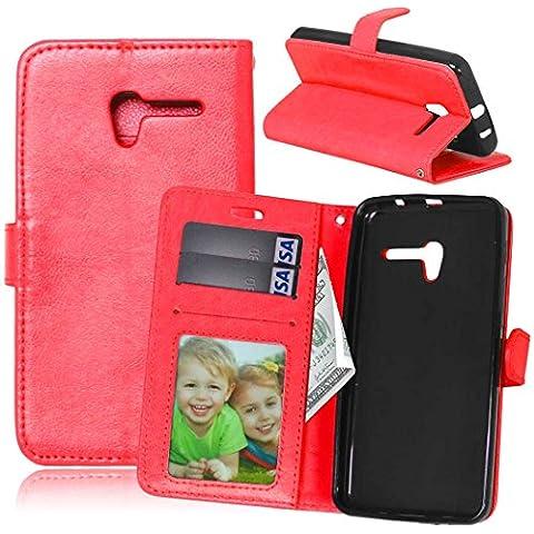 Beiuns para Alcatel One Touch Pop 3 (5 pulgadas) Funda de PU piel Carcasa - K118 rojo cálido