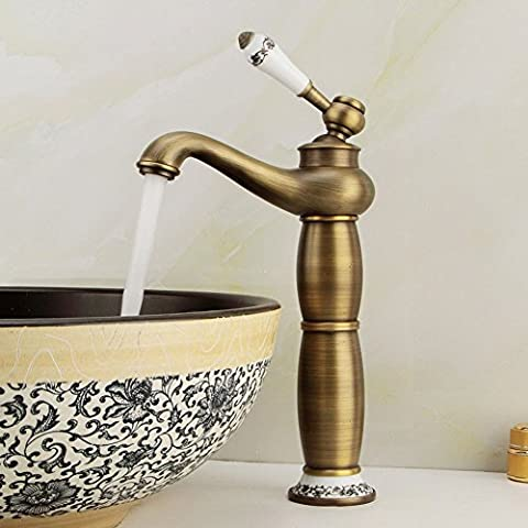 Ceramic Counter Basin/Fitting/All copper antique/Gourd-type faucet/Vertical hot and cold/Sitting faucet