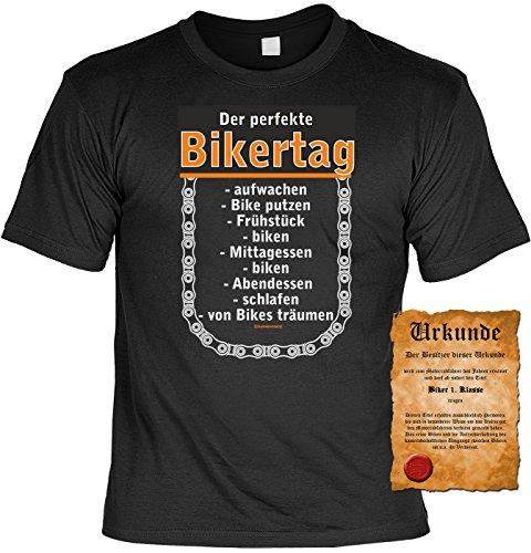 Biker Motorrad Motiv T-Shirt :-: mit Urkunde schwarz-16
