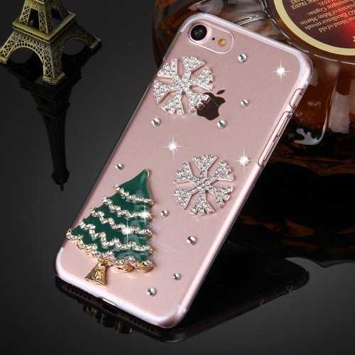 Cover case protettiva rigida per iPhone 7 albero natale Christmas rilievo brillantini glitter