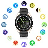 Montre Connectée Bluetooth,QIMAOO G5 Écran Tactile Smartwatch Sports Bracelet Connecté IP67 Imperméable à Eau avec Cardiofréquencemètre Podomètre Suivi de Sommeil Compatible avec Android IOS Smartphone(Noir+Or)