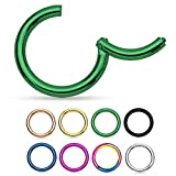 KULTPIERCING - Universal Segment Piercing Segmentring Septum Tragus Helix Ohr Nase Lippe Brust Intim Scharnier Clicker Ring - 1,6 x 10 mm - Grün