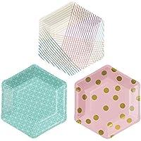 Talking Tables platos hexagonales 'Party time.' en 3 patrones diferentes. Para cumpleaños. Multicolor.