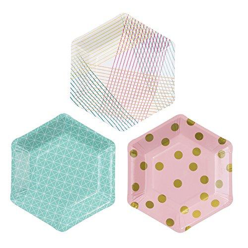 Talking Tables PARTY-PLATE Party Time Hexagonal Assiette 3 Designs Décoration Papier Carton Multicolore 3,5 x 21 x 21 cm Pack de 12