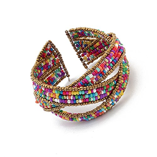 LUFA For Women and Ladies Bohemia Beads Bracelets Weave Open Bangles Women Fashion Jewelry Colorful&4*6.5cm