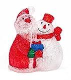 Acryl Weihnachtsfigur beleuchtet, Indoor/Outdoor geeignet, 230V, lieferbar als Weihnachtsmann 40 LEDs, Höhe ca. 34 cm oder Weihnachtspaar 60 LEDs, Höhe ca. 37 cm (Rot/Weiß (Weihnachtspaar))