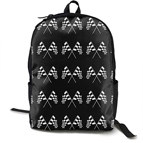 Lässige Daypack Big Capacity Anti-Theft Mehrzweck-Umhängetasche Rucksack für die Schule im Freien Fahrrad - Racing Zielflagge, Reisen Wandern Daypack