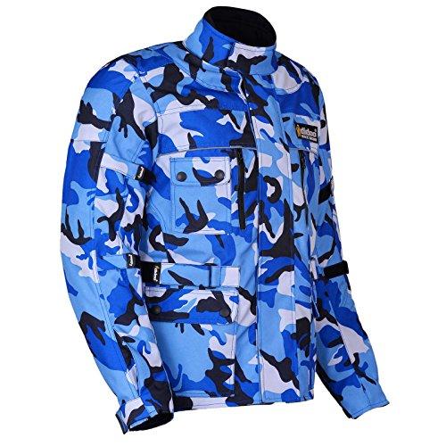 Blau Camo Motorrad Jacke Camouflage Cordura CE und wasserdicht, Herren, blau (Camo Blau Herren)