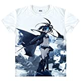 BRS Black Rock Shooter T-Shirt Insane BLACK ROCK SHOOTER IBRS Kostüm Cosplay Weiß
