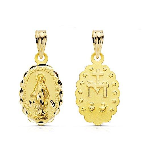 18k medaglia d'oro 18 millimetri miracolosa Vergine. [AB0799] - Miracolosa Vergine