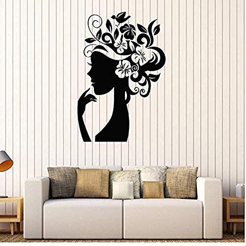 Blumenfee Frau Seitenmuster Friseursalon Fensteraufkleber 57x78cm Applique Wandkunst
