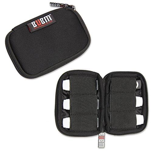 BUBM Soft Mini Tasche Aufwahrungstasche mit 6 Kapazität für USB Drive Shuttle (Schwarz) -