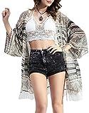 KE1AIP Maillot de bain à manches longues à manches longues pour femme Cover Up Chiffon Kimono Cardigan Blouse