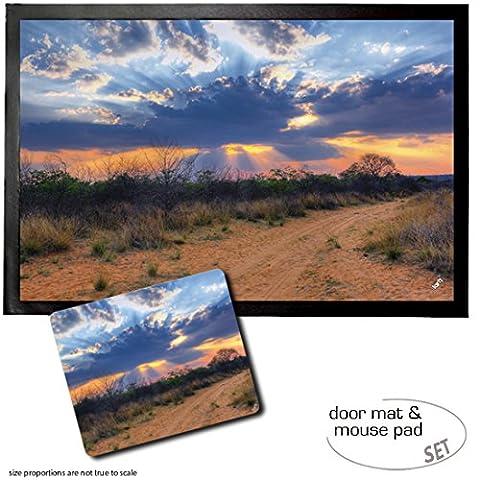 Set: 1 Fußmatte Türmatte (60x40 cm) + 1 Mauspad (23x19 cm) - Sonnenuntergänge, Sonnenstrahlen Scheinen Durch Die Wolken, Waterberg National Park, Namibia