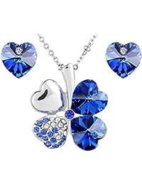 Le Premium® Collier avec pendentif trèfle avec boucles d'oreilles assortis cardiaques faits avec SWAROVSKI ELEMENTS® saphir bleu