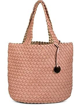 styleBREAKER Wendetasche in Flecht Optik, Shopper, Handtasche, Set aus 2 Taschen, Bag in Bag, Schultertasche,...