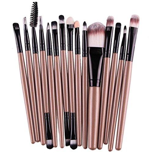 Lot de pinceaux de maquillage, Tianya Filtre 15 pcs Professional Coametic outils Fard à paupières Fond de teint sourcils lèvres Brosse Two-head Brosse de, doré, Taille unique